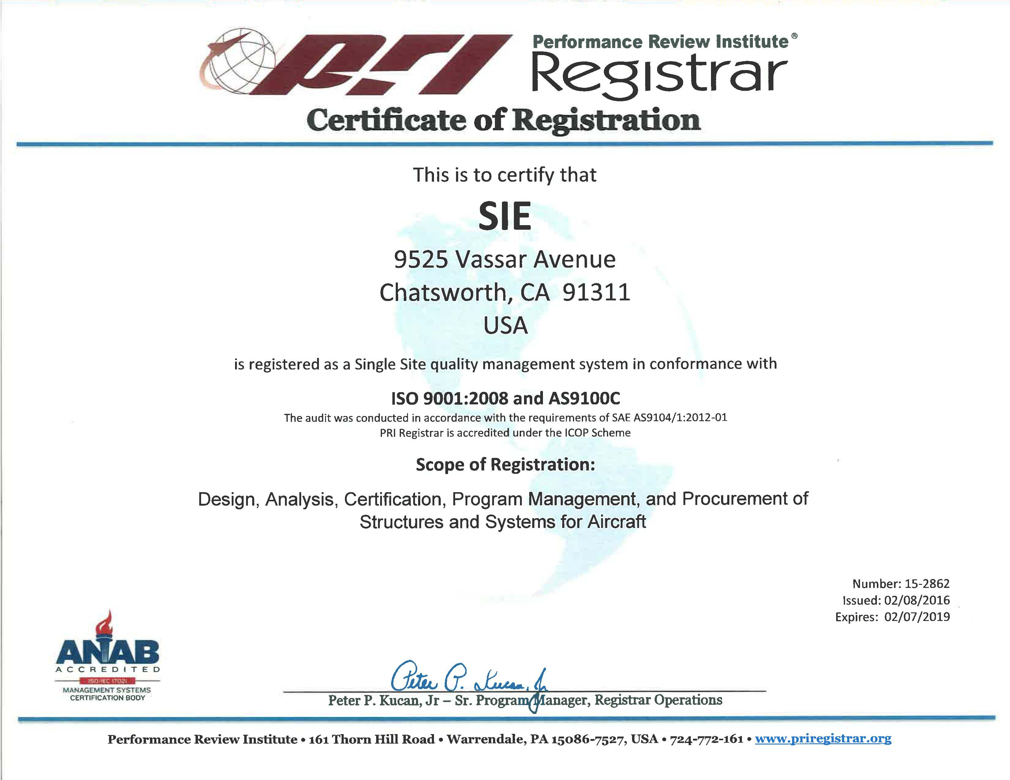 image of the AS9100 Certificate